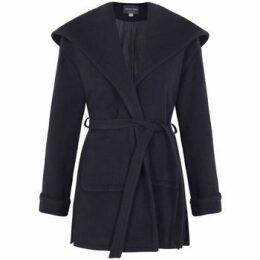 De La Creme  Winter Wool Cashmere Wrap Hooded Coat  women's Parka in Blue