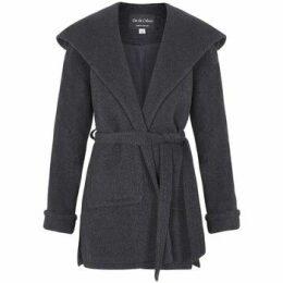 De La Creme  Winter Wool Cashmere Wrap Hooded Coat  women's Parka in Grey