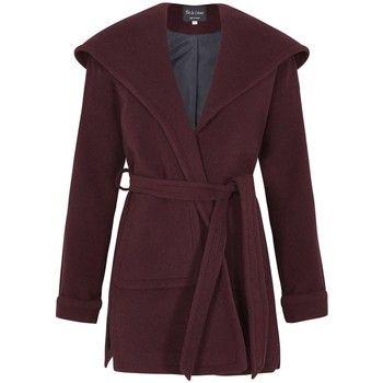 De La Creme  Winter Wool Cashmere Wrap Hooded Coat  women's Parka in Red