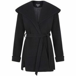 De La Creme  Winter Wool Cashmere Wrap Hooded Coat  women's Parka in Black