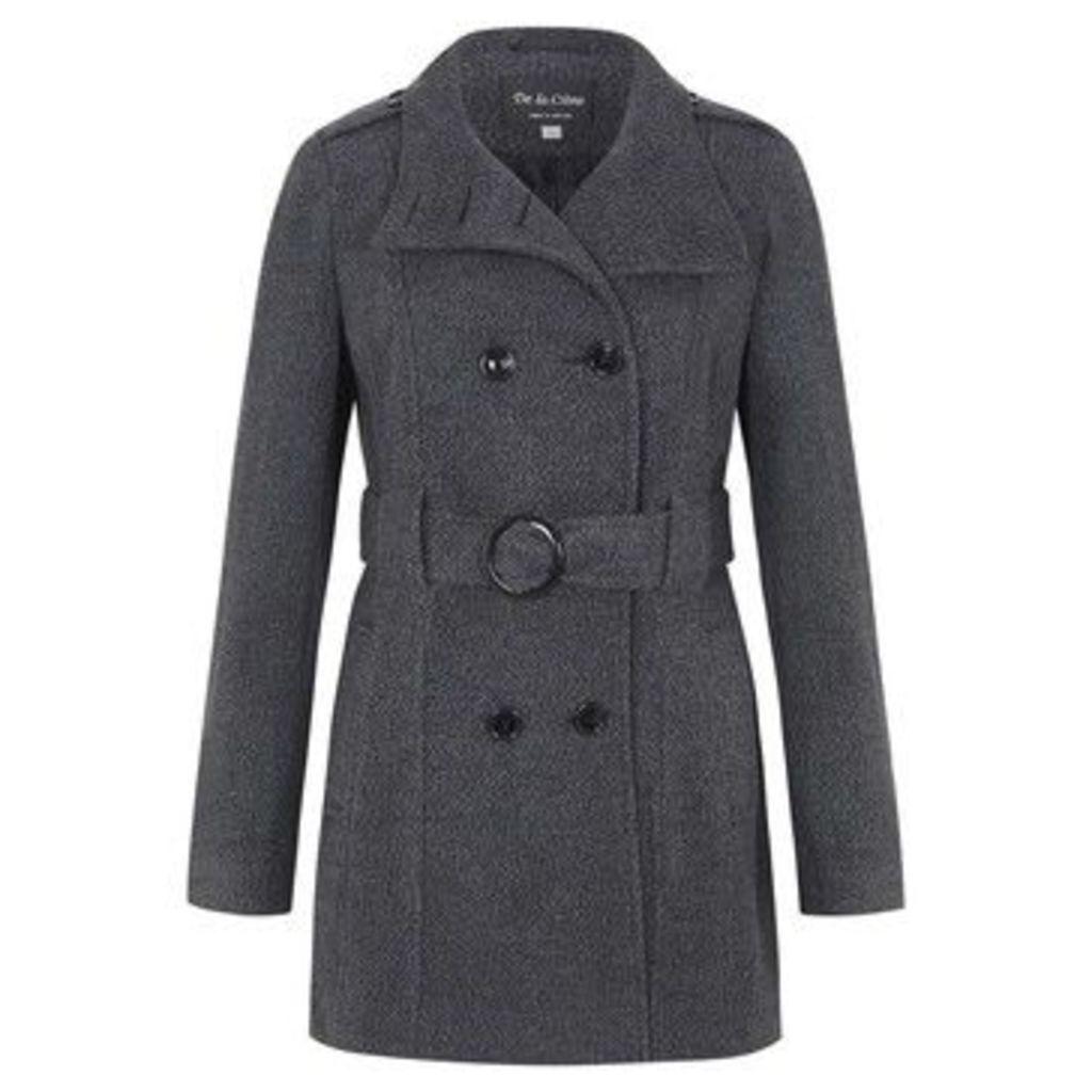 De La Creme  Wool Belted Winter Coat  women's Trench Coat in Grey