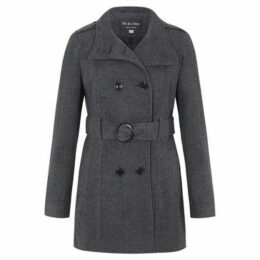De La Creme  Wool Belted Winter Coat  women's Trench Coat in Grey