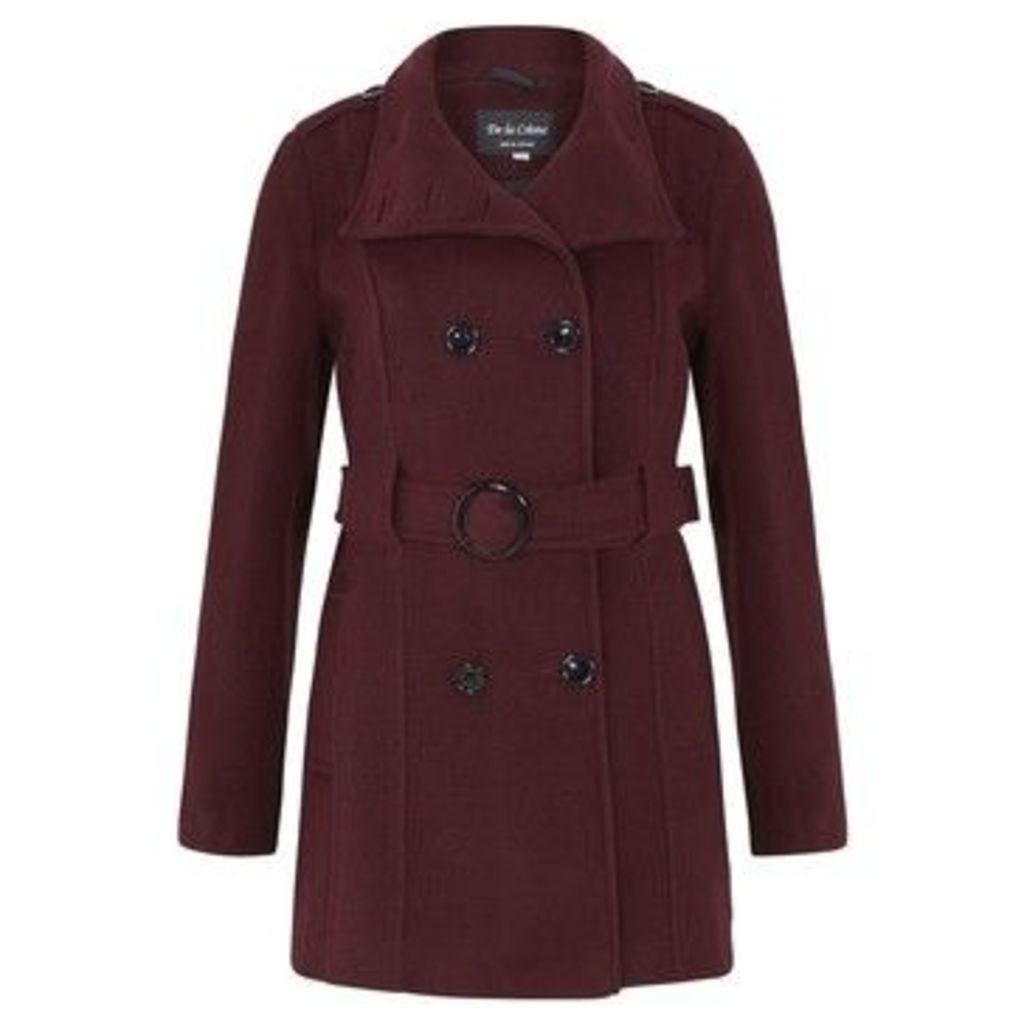 De La Creme  Wool Belted Winter Coat  women's Trench Coat in Red