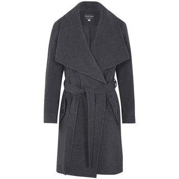 De La Creme  Winter Wool Cashmere Wrap Coat with Large Collar  women's Parka in Grey