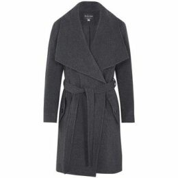De La Creme  Winter Wool Cashmere Wrap Coat with Large Collar  women's Parka in Grey