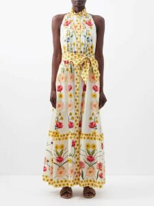 Gül Hürgel - Contrast Panel Floral Print Cotton Dress - Womens - Pink Print