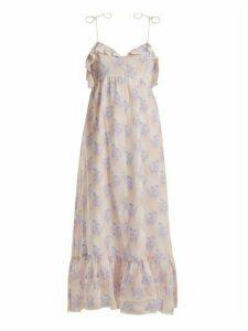 Athena Procopiou - Violet's Whisper Lace Trimmed Maxi Dress - Womens - Purple Multi