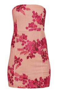 Pink Bandeau Embroidered Lace Bodycon Dress, Pink