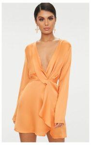 Tangerine Satin Long Sleeve Wrap Dress, Tangerine