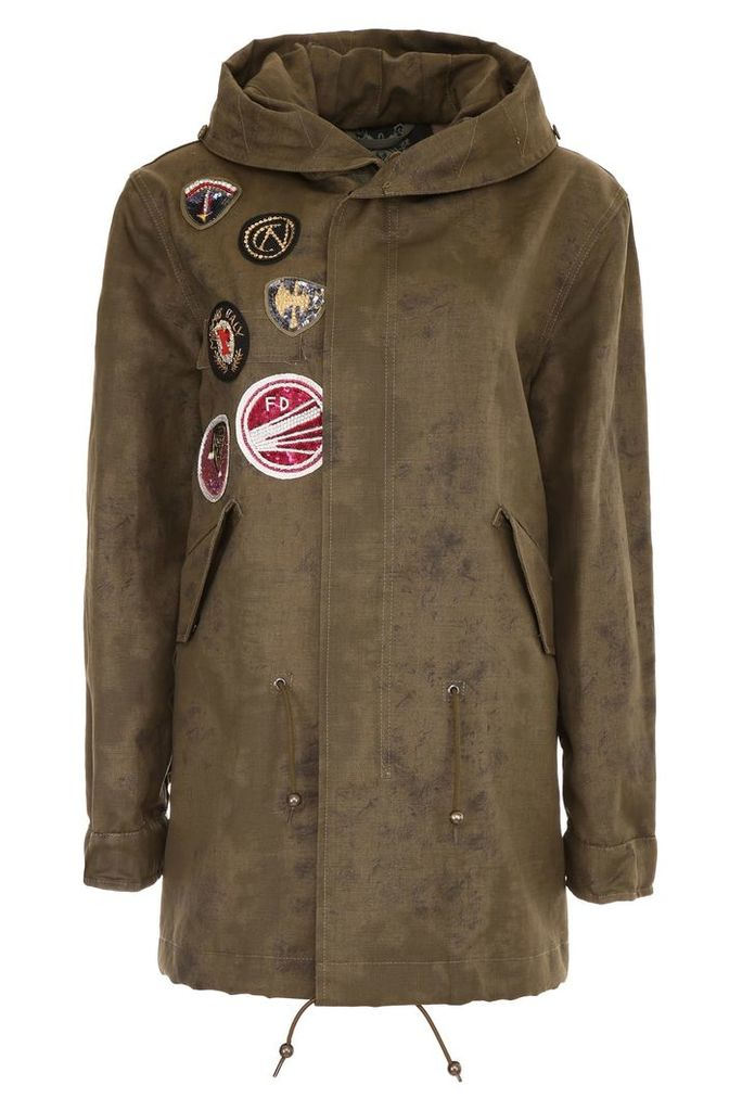 Mr & Mrs Italy Midi Parka With Patches