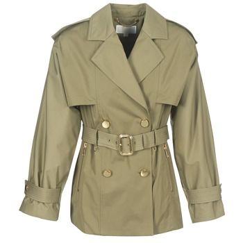 MICHAEL Michael Kors  SHRT WIDE TRENCH  women's Trench Coat in Green