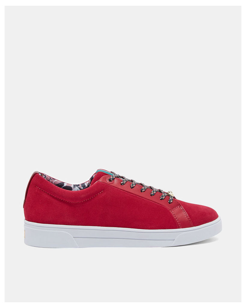 Ted Baker Suede tennis trainers Dark Red