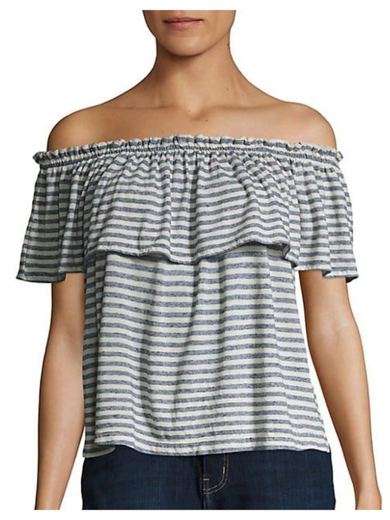Striped Ruffle Off-The-Shoulder Top