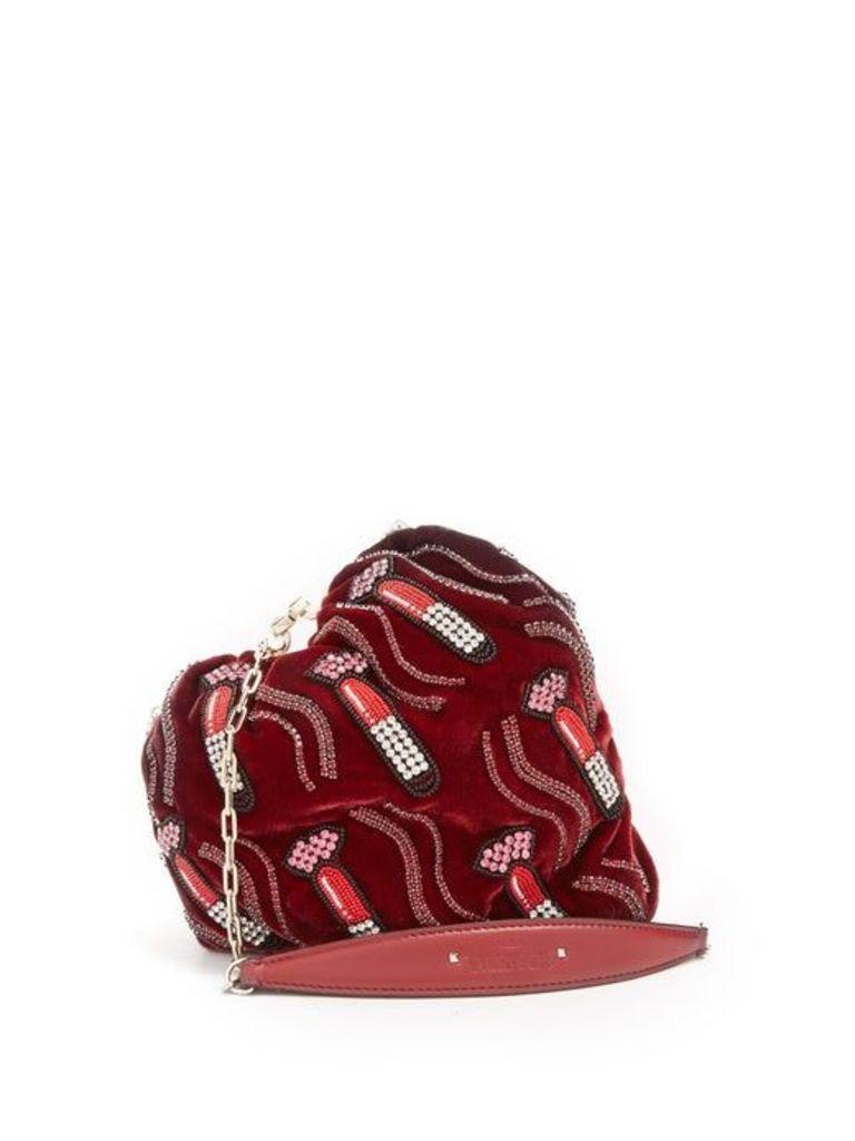 Valentino - Carry Secrets Bead Embellished Heart Velvet Clutch - Womens - Burgundy Multi