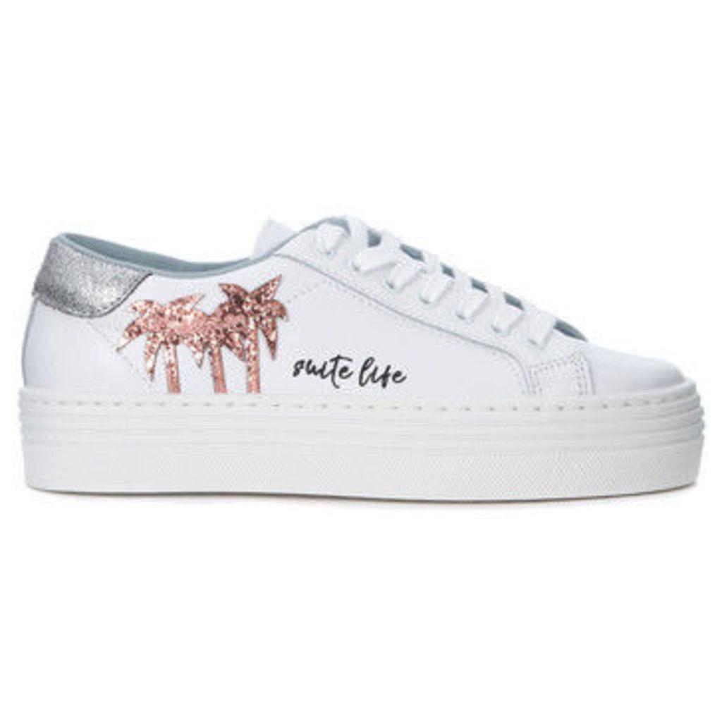 Chiara Ferragni  Chiara Ferragni Suite white leather sneaker with glitter palms  women's Shoes (Trainers) in White