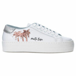 Chiara Ferragni  Chiara Ferragni Suite white leather sneaker with glitter palms  women's Shoes (Trainers) in White