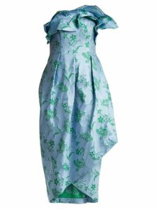 Carolina Herrera - Ruffle Trimmed Floral Jacquard Dress - Womens - Blue Print
