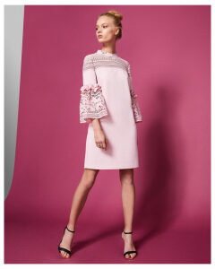 Ted Baker Lace bell sleeved tunic dress Dusky Pink