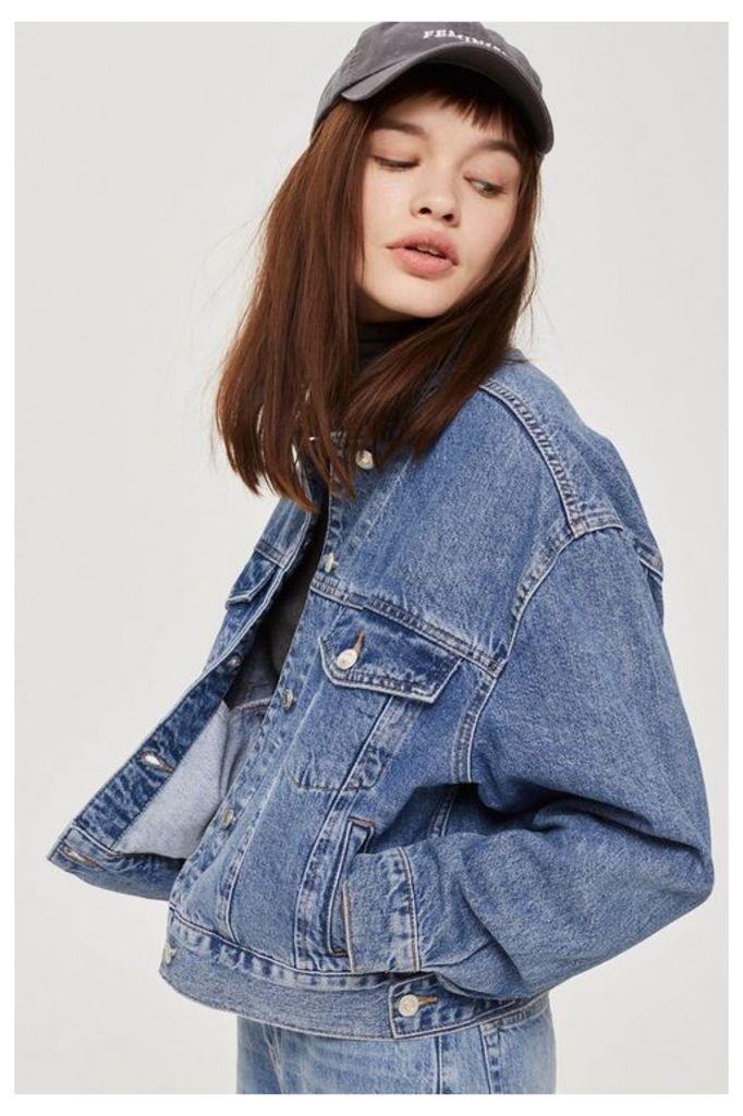 Womens Petite Cropped Oversized Jacket - Mid Stone, Mid Stone
