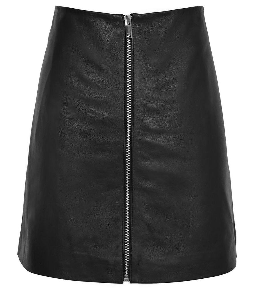 Reiss Annabelle - Zip-detail Leather Skirt in Black, Womens, Size 14