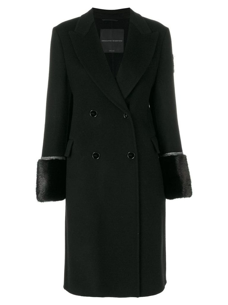 Ermanno Scervino double breasted coat with fur cuffs - Black