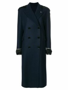 Ermanno Scervino beaded double-breasted coat - Blue