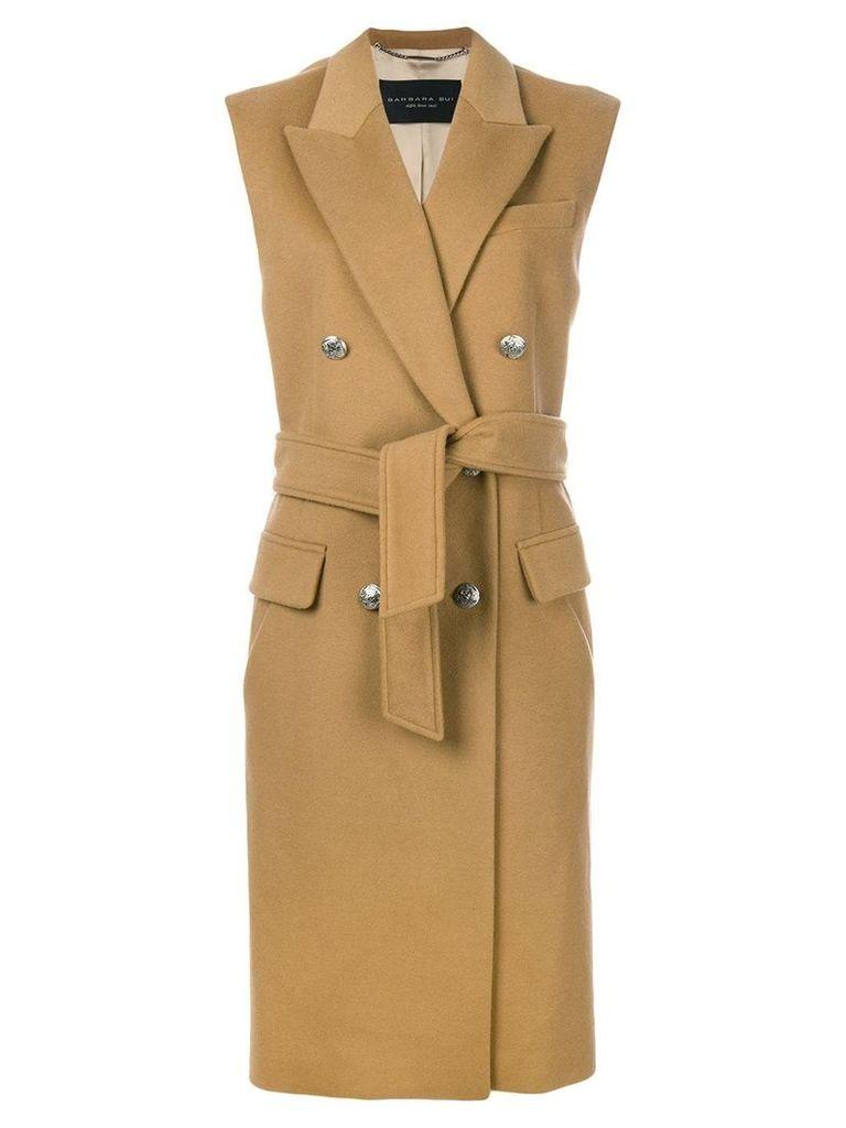 Barbara Bui sleeveless tied double breasted coat - Neutrals