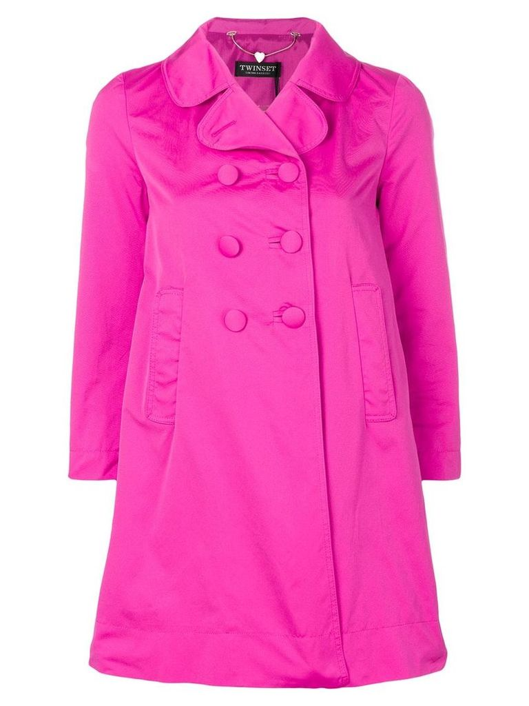 Twin-Set double breasted cropped sleeve coat - Pink