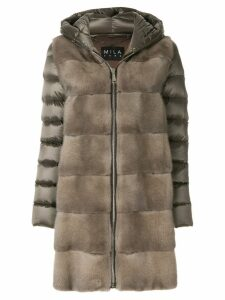 Cara Mila Lisa down mink coat - Grey