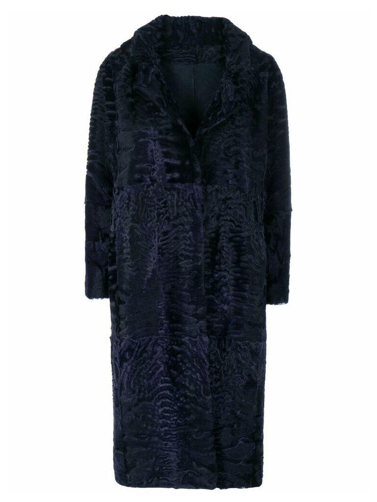Liska textured single-breasted coat - Blue