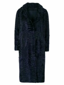 Liska textured single-breasted coat - Blue