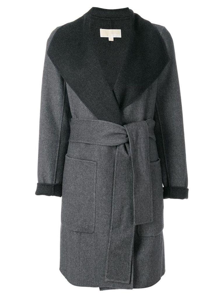 Michael Michael Kors belted contrast coat - Grey