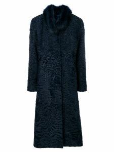 Liska round collar coat - Blue