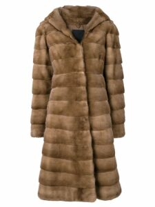 Liska Valencia hooded fur coat - Brown