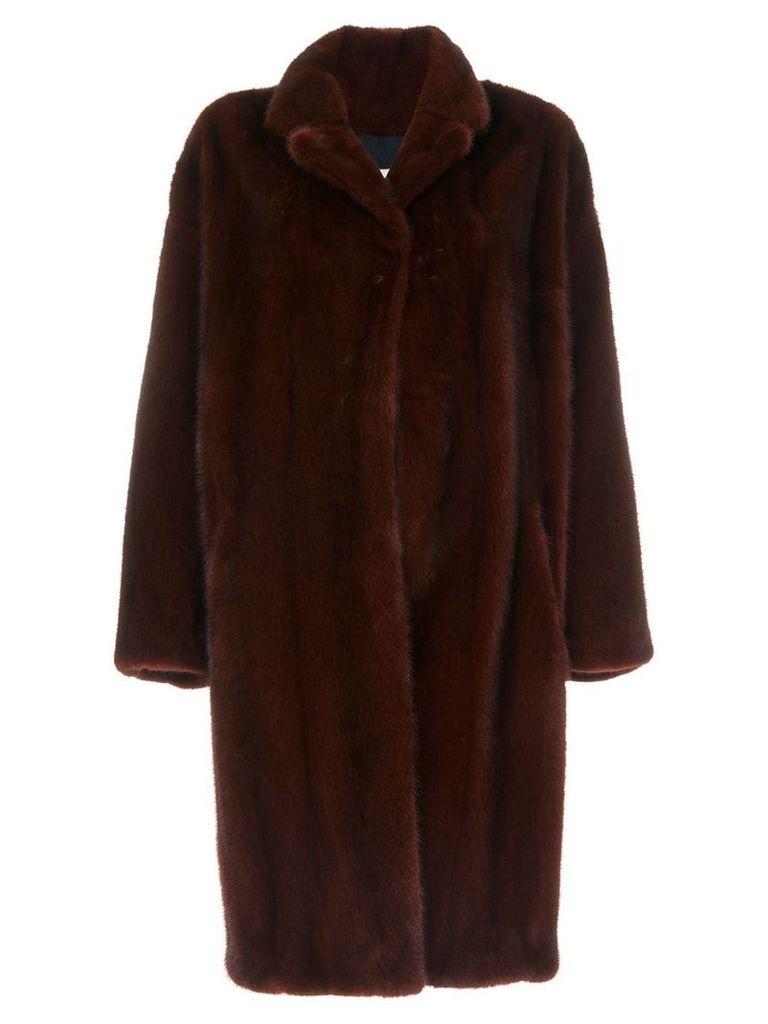 Sprung Frères oversized mink fur coat - Red