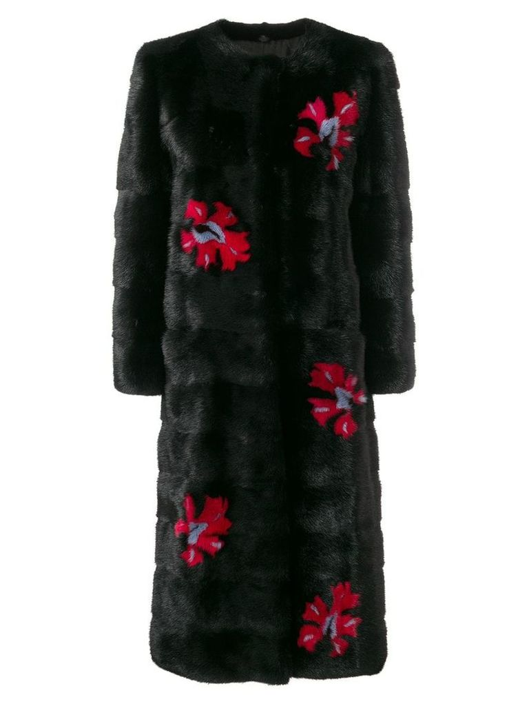 Simonetta Ravizza fur detail coat - Black