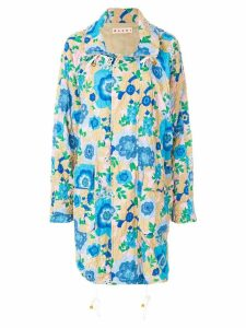 Marni floral printed coat - Blue