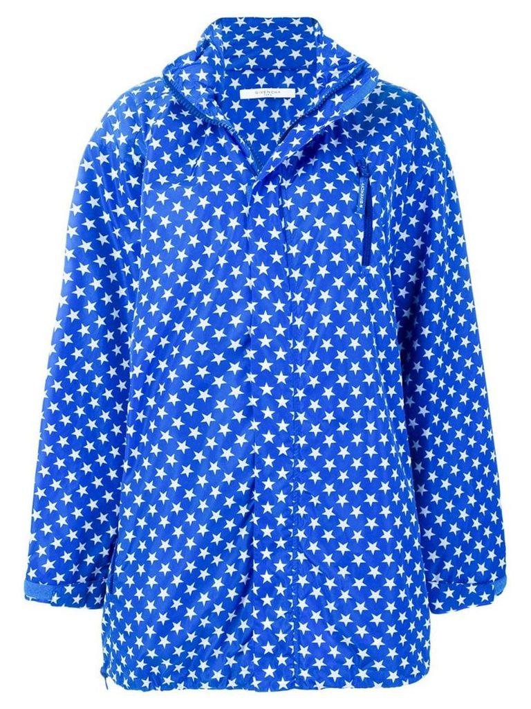 Givenchy oversized star print parka - Blue