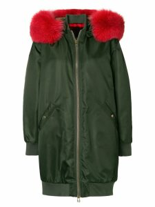 Mr & Mrs Italy oversized hooded midi bomber - Green