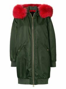 Mr & Mrs Italy oversized hooded midi bomber - Green