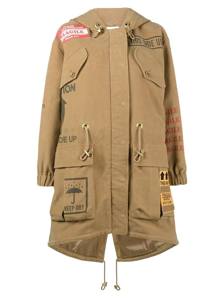 Moschino printed oversized hooded parka - Neutrals