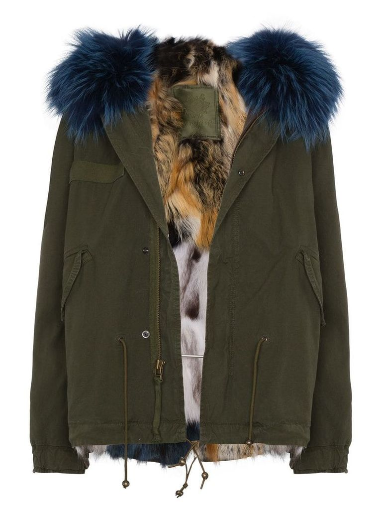 Mr & Mrs Italy mini patchwork fur lined parka - Green