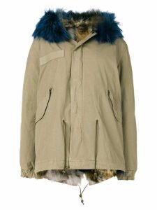 Mr & Mrs Italy trimmed hood mini parka - Neutrals