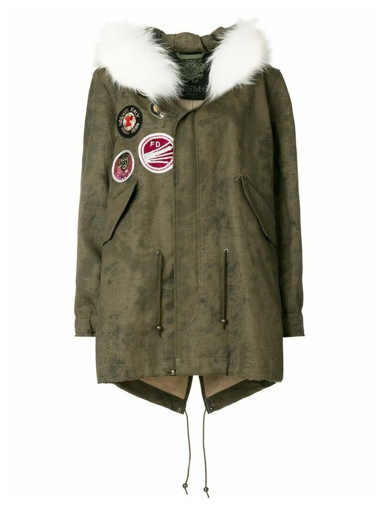 Mr & Mrs Italy fur trimmed patch parka coat - Green