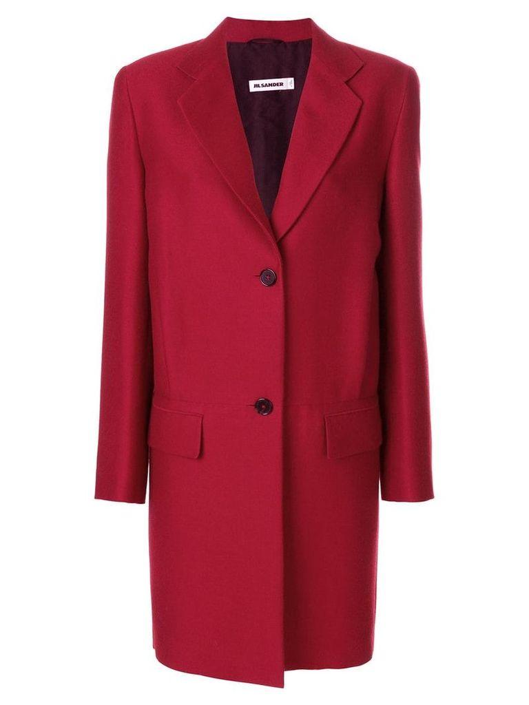 Jil Sander single breasted coat - Red