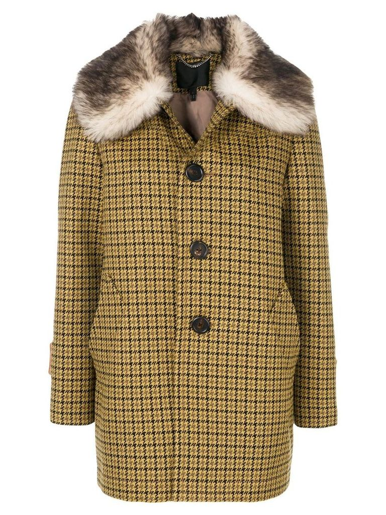 Marc Jacobs fur trimmed single breasted coat - Yellow