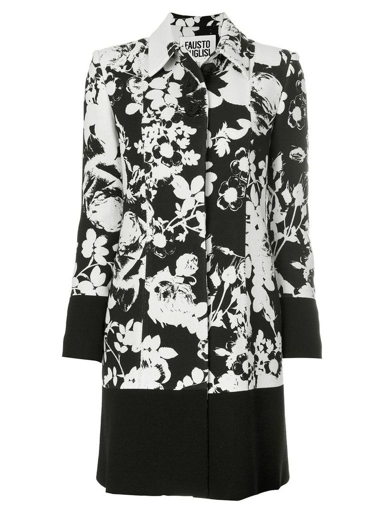 Fausto Puglisi floral patterned coat - White