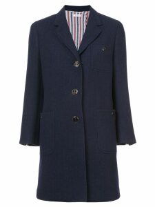 Thom Browne Unlined Button Back Sack Overcoat In Navy Solid Double