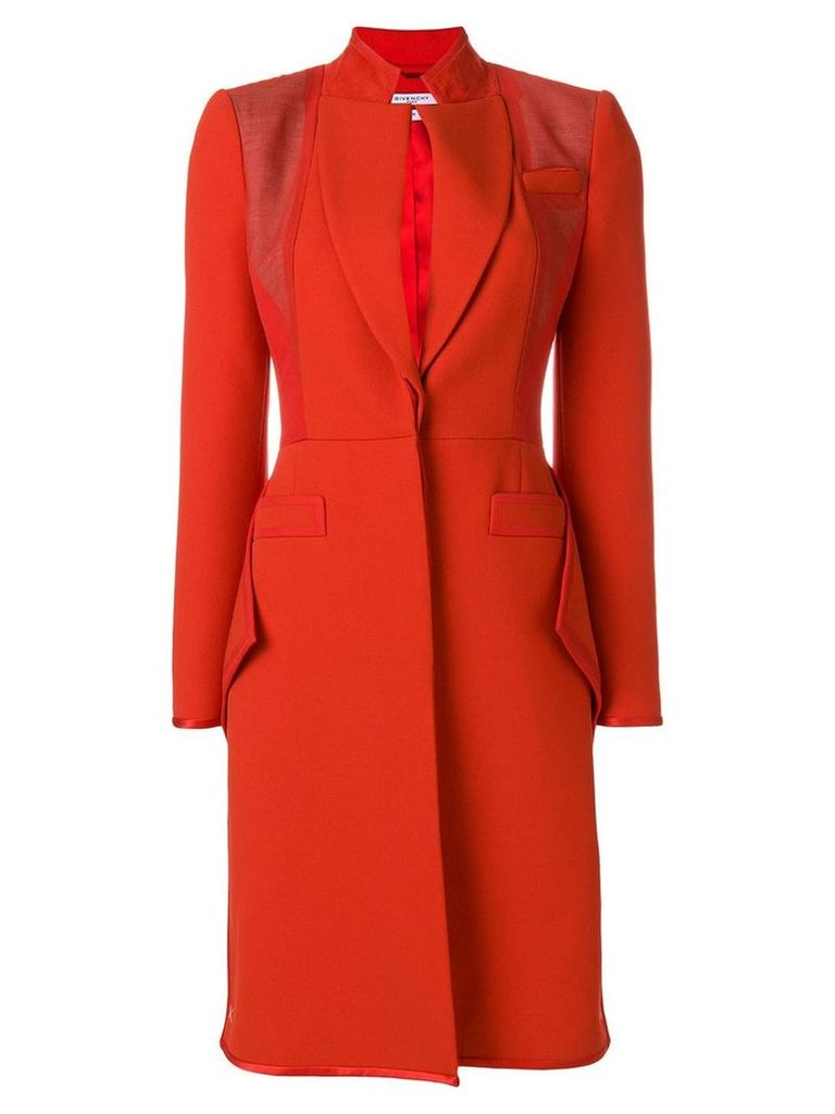 Givenchy Ruffle hem crepe coat - Red