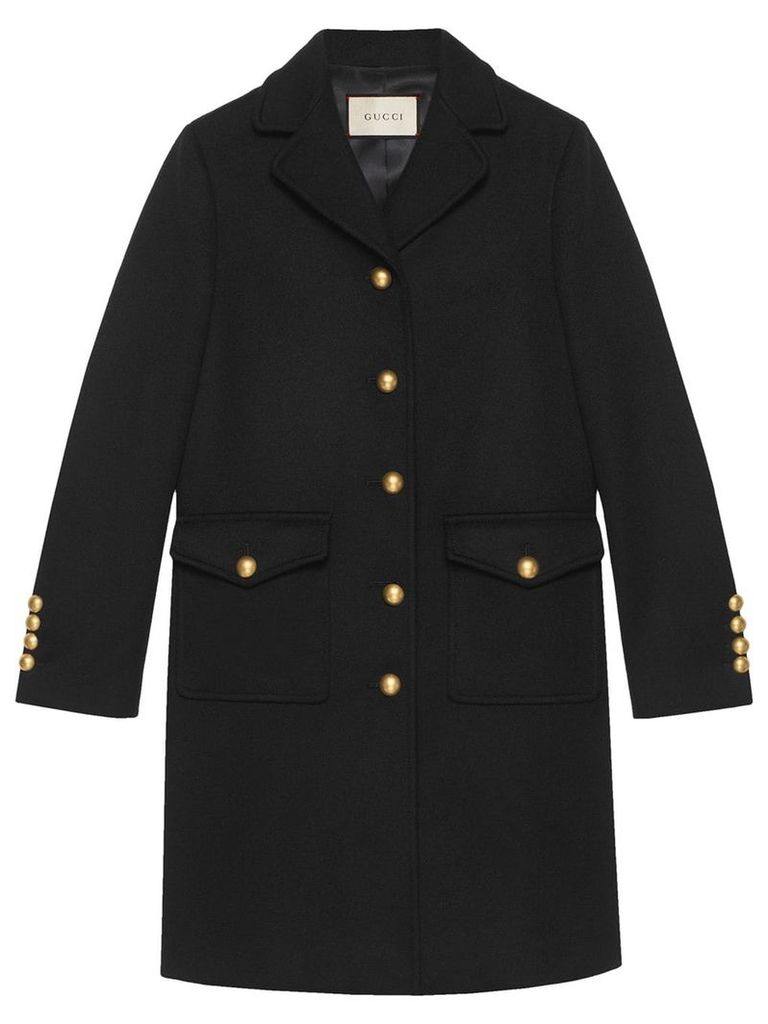 Gucci Wool coat with Double G - Black